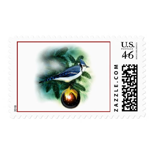Christmas Bird Pretty Blue Jay Postage Stamps