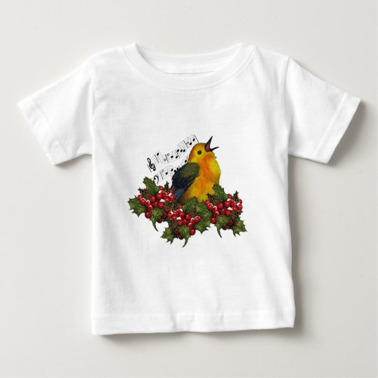 Christmas Bird Singing With Hollly, Berries Baby T-Shirt