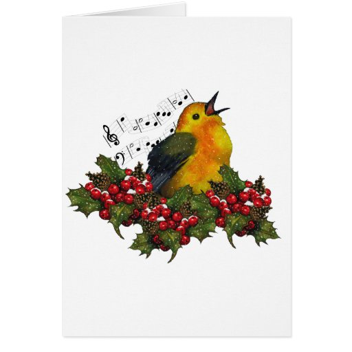 Christmas Bird Singing With Hollly, Berries Greeting Card