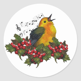 Christmas Bird Singing With Hollly, Berries Classic Round Sticker