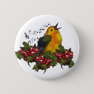 Christmas Bird Singing With Hollly, Berries Pinback Button