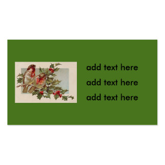 Christmas Bird Songbird Holly Snow Double-Sided Standard Business Cards (Pack Of 100)