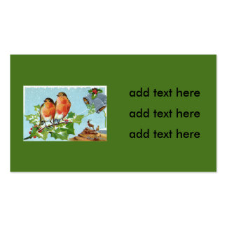 Christmas Bird Songbird Holly Snow Reindeer Bell Double-Sided Standard Business Cards (Pack Of 100)