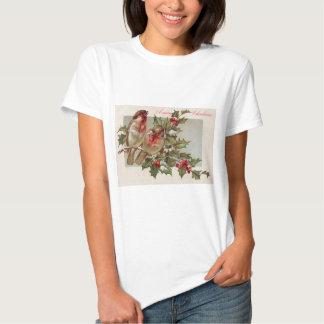 Christmas Bird Songbird Holly Snow T-shirt
