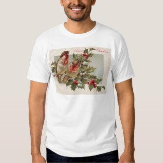 Christmas Bird Songbird Holly Snow Tee Shirt