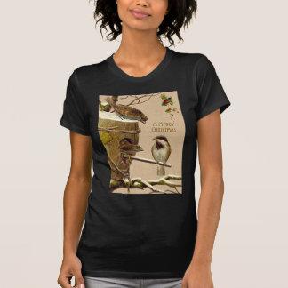 Christmas Bird Sparrow Birdhouse Holly T-shirt