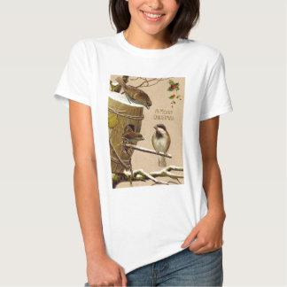Christmas Bird Sparrow Birdhouse Holly Tee Shirt