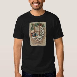 Christmas Bird Tree Pine Cone Tee Shirt