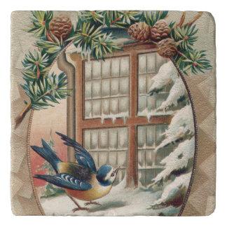 Christmas Bird Tree Pine Cone Trivet