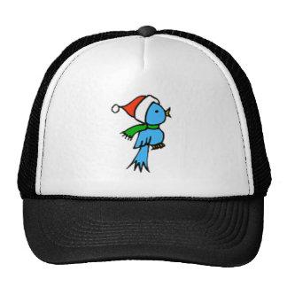Christmas Bird Wearing Santa Hat