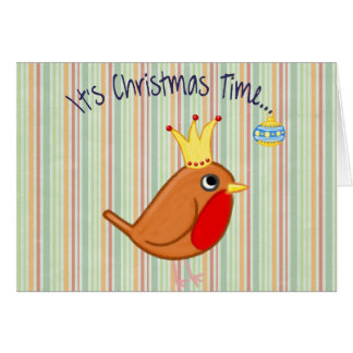 Christmas Bird With Crown With Vertical Stripes Card