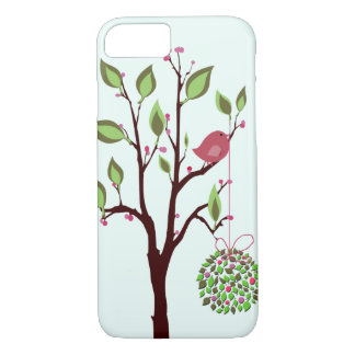 Christmas bird with mistletoe iPhone 7 case