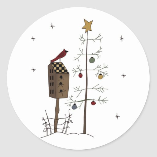 Christmas Birdhouse/redbird stickers