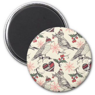 Christmas birds 2 inch round magnet
