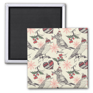 Christmas birds 2 inch square magnet