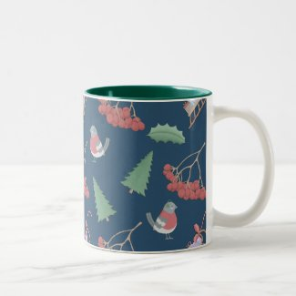 Christmas Birds and Sleds Blue Two-Tone Coffee Mug