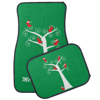 Christmas Birds in a Tree Car Floor Mat