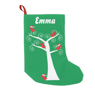Christmas Birds in a Tree Small Christmas Stocking
