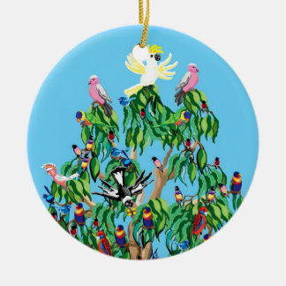Christmas birds in Australia Double-Sided Ceramic Round Christmas Ornament