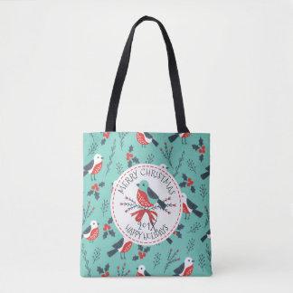 Christmas Birds & Merry Christmas Template Tote Bag