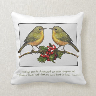 Christmas Birds, Quote About Friendship, Art Throw Pillow