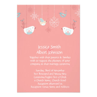 Christmas Birds Wedding Invite