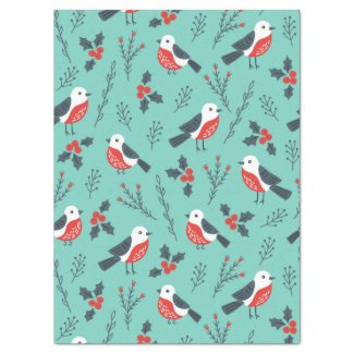 Christmas Birds & Winter Foliage Pattern