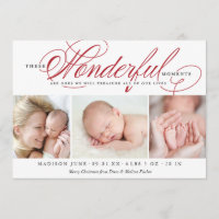 Christmas Birth Announcement Holiday Photo Card