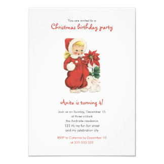 Christmas Birthday Cute Retro Girl Red Poinsettia 4.5x6.25 Paper Invitation Card