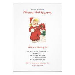 Christmas Birthday Cute Retro Girl Red Poinsettia Card