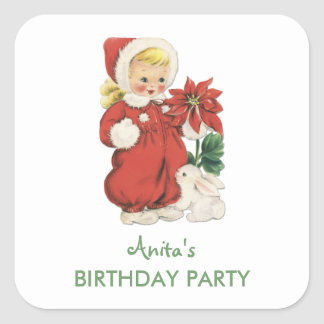 Christmas Birthday Cute Retro Girl Red Poinsettia Square Stickers