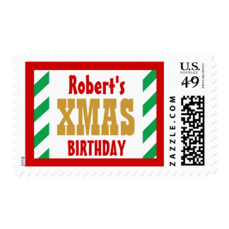 CHRISTMAS BIRTHDAY GREEN RED GOLD Stripes Postage
