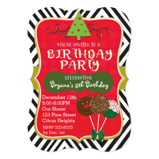 Christmas BIRTHDAY PARTY Cake pops Invitations