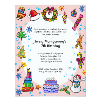 Christmas Birthday Party Invitation Light Pink