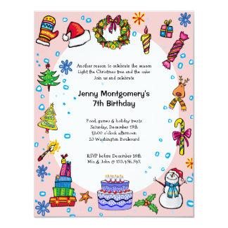 Christmas Birthday Party Invitation Light Pink
