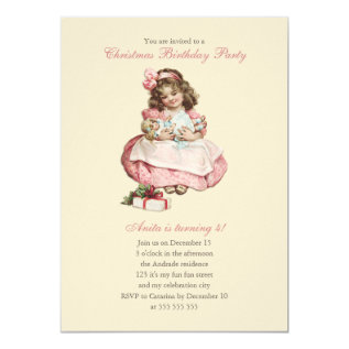 Christmas Birthday Party Vintage Cute Girl Pink Card at Zazzle