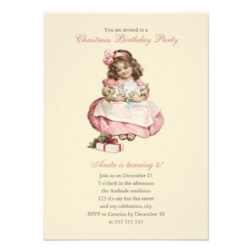 Christmas Birthday Party Vintage Cute Girl Pink Custom Invites