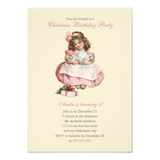 Christmas Birthday Party Vintage Cute Girl Pink 4.5x6.25 Paper Invitation Card