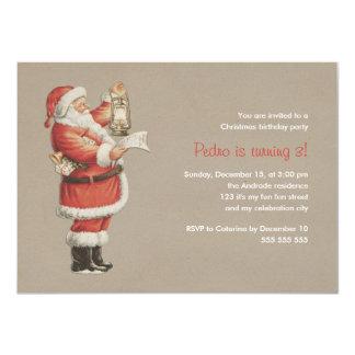 Christmas Birthday Party Vintage Santa 3rd Holiday Card