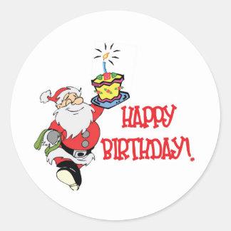 Christmas Birthday Round Sticker