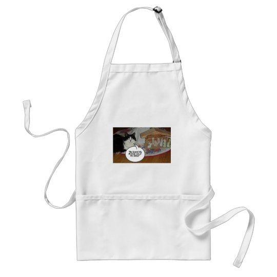 Christmas Black and White Cat Humor Adult Apron