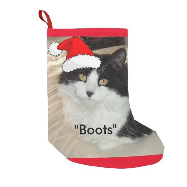 Christmas Black and White Cat Small Christmas Stocking
