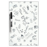 christmas black and white fun doodle Dry-Erase boards