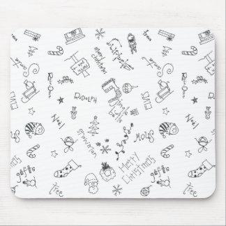 christmas black and white fun doodle mousepad