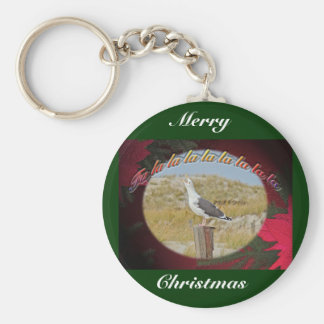 Christmas Black Backed Gull Christmas Caroling Keychain