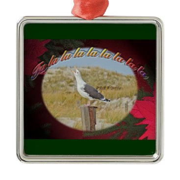 Beach Themed Christmas Black Backed Gull Metal Ornament