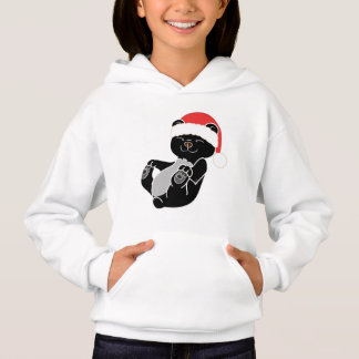 Christmas Black Bear with Red Santa Hat Hoodie