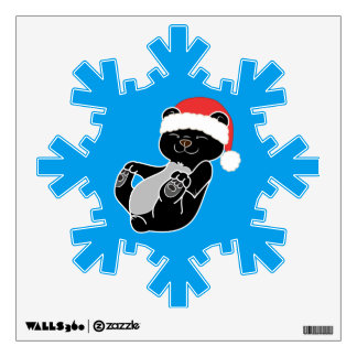 Christmas Black Bear with Red Santa Hat Wall Sticker