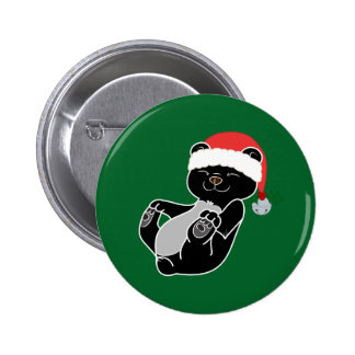 Christmas Black Bear with Santa Hat & Jingle Bell 2 Inch Round Button