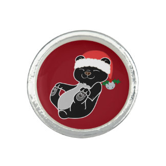 Christmas Black Bear with Santa Hat & Jingle Bell Photo Rings
